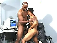 Narrow black ass plugged real hard