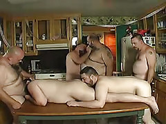 Hairy mature gays suck cocks and lick assholes